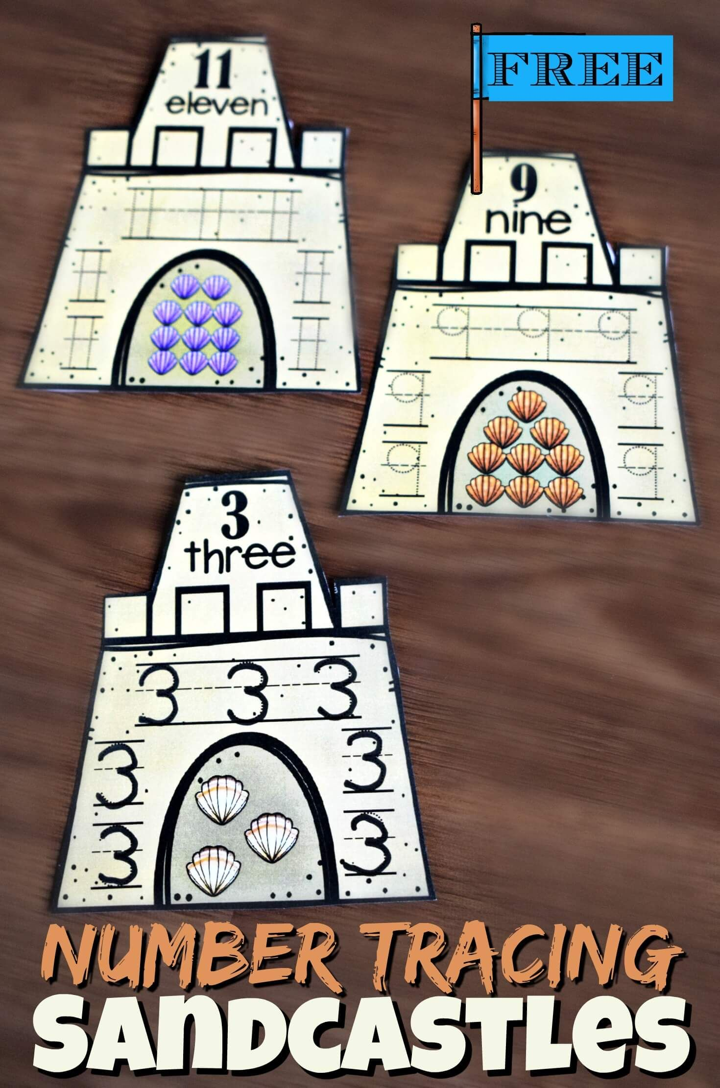 Free Number Tracing Sandcastles