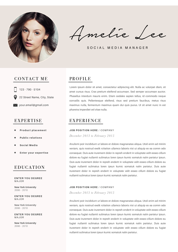 Creative Resume Template, Minimalist Resume, CV Design, Resume With Photo, Clean Resume, Curriculum Vitae For Mac or PC, CoverLetter, 2 page