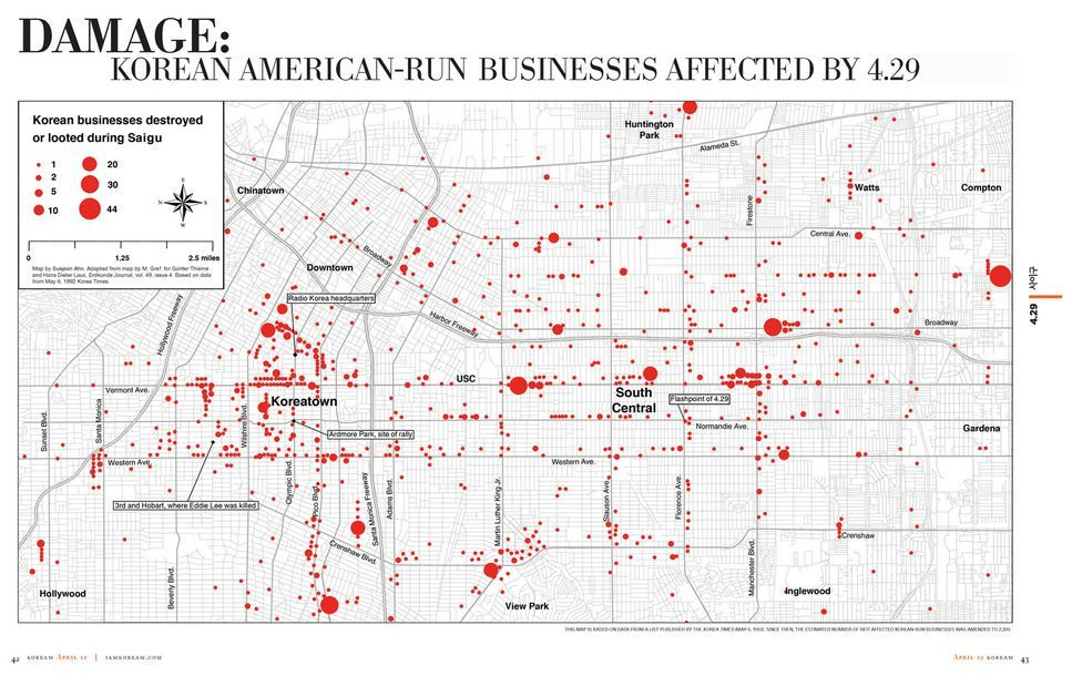 LA Weekly Map Of Korean Businesses Targeted During LA Riots - Map of us before and after the riots