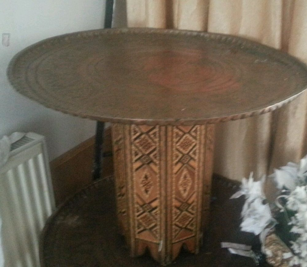 MOROCCAN/ TURKISH BRASS TEA COFFEE TRAY TABLE WITH WOODEN STAND
