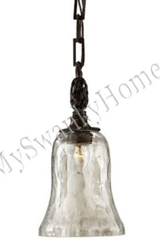 Bubbled Seeded GLASS Pendant Hanging Light NEIMAN MARCUS Metal Iron Antique Mini