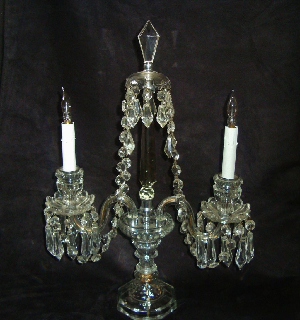 Antique Victorian Crystal Glass Beaded Candelabrum Lamp Electric ...