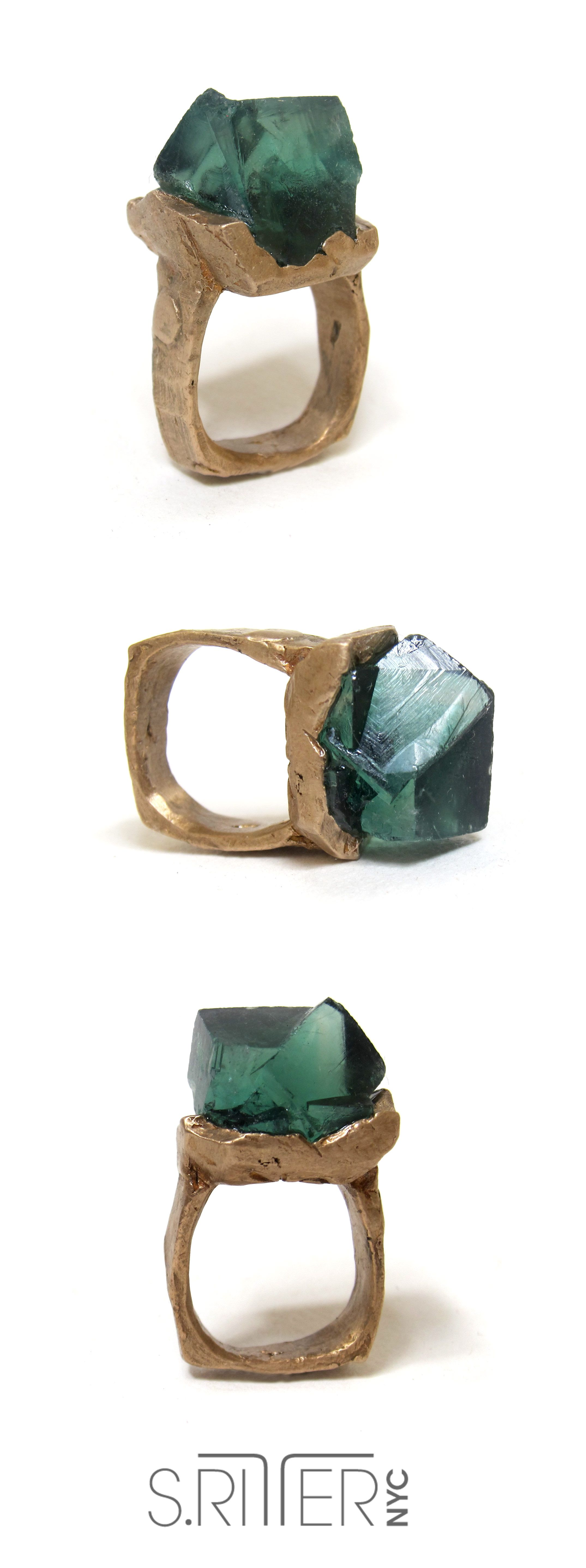 pin rings handmade raw fluorite crystal featured ring