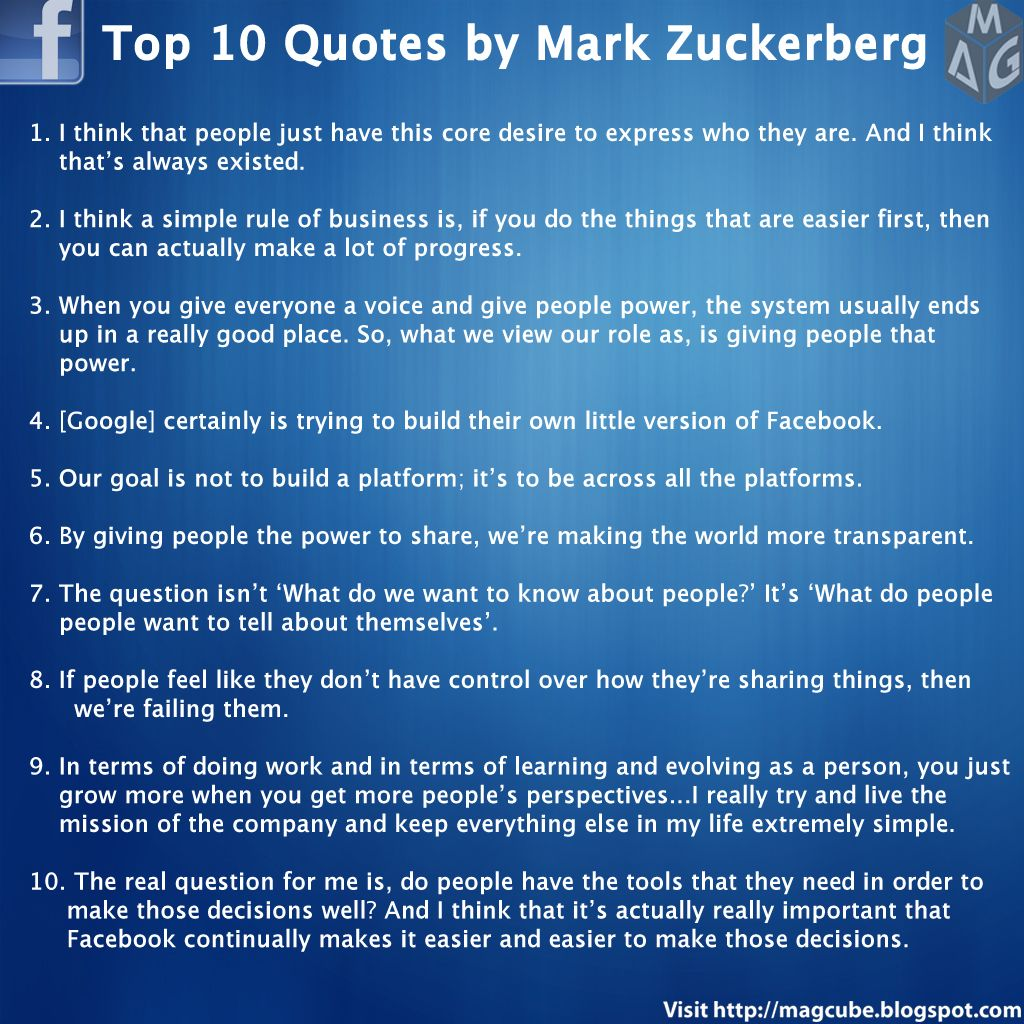 Top 10 Quotes By Mark Zuckerberg Facebook Founder Quotes Quotes