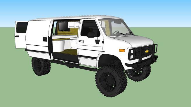 Sketchup 3D Drawing von 1990 Chevy Van G30 4x4 Diesel | 4x4