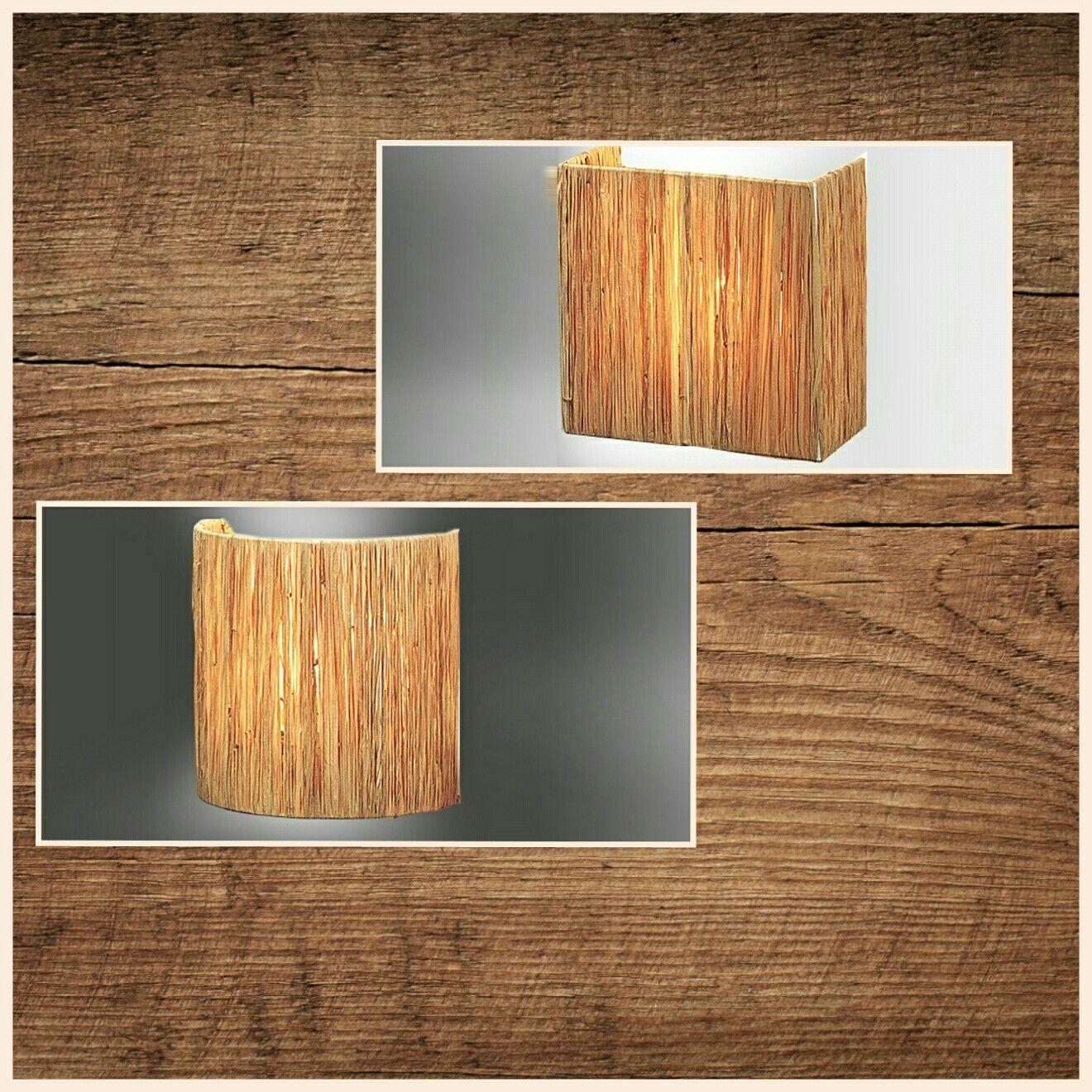 Apliques de pared con pantalla cuadrada y semicircular,  tejidas y montadas a mano en Rafia Natural. http://www.raco-ambient.com/racoclassics/lampara/ref-2348/ http://www.raco-ambient.com/racoclassics/lampara/ref-2349/ http://www.raco-ambient.com/