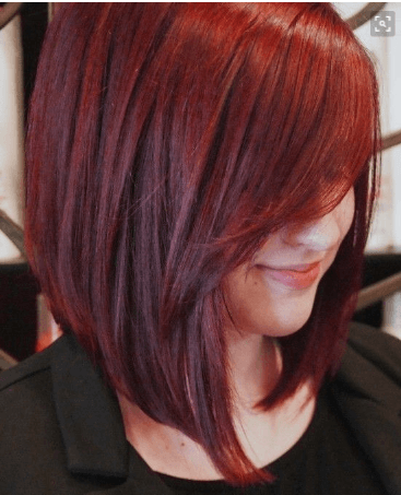 Red Side Bangs With Long Bob Hair Styles Short Hair Styles Ammonia Free Hair Color