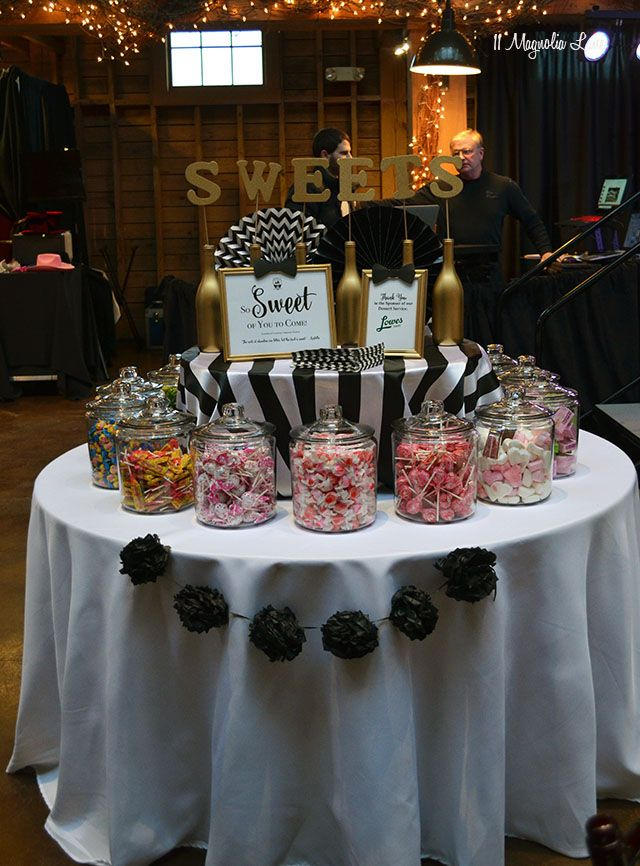 Black And White Bowtie Ball Candy Bar Wedding Sweet 16 Birthday Party Wedding Candy