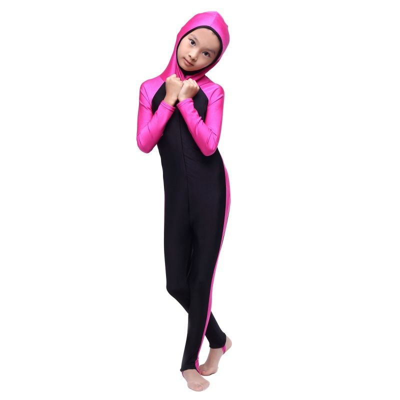 053ec5d0e35b7 Muslim Girls Print Full Cover Modest Swimsuit Islamic Beachwear Swimming  Costume Buy at ->