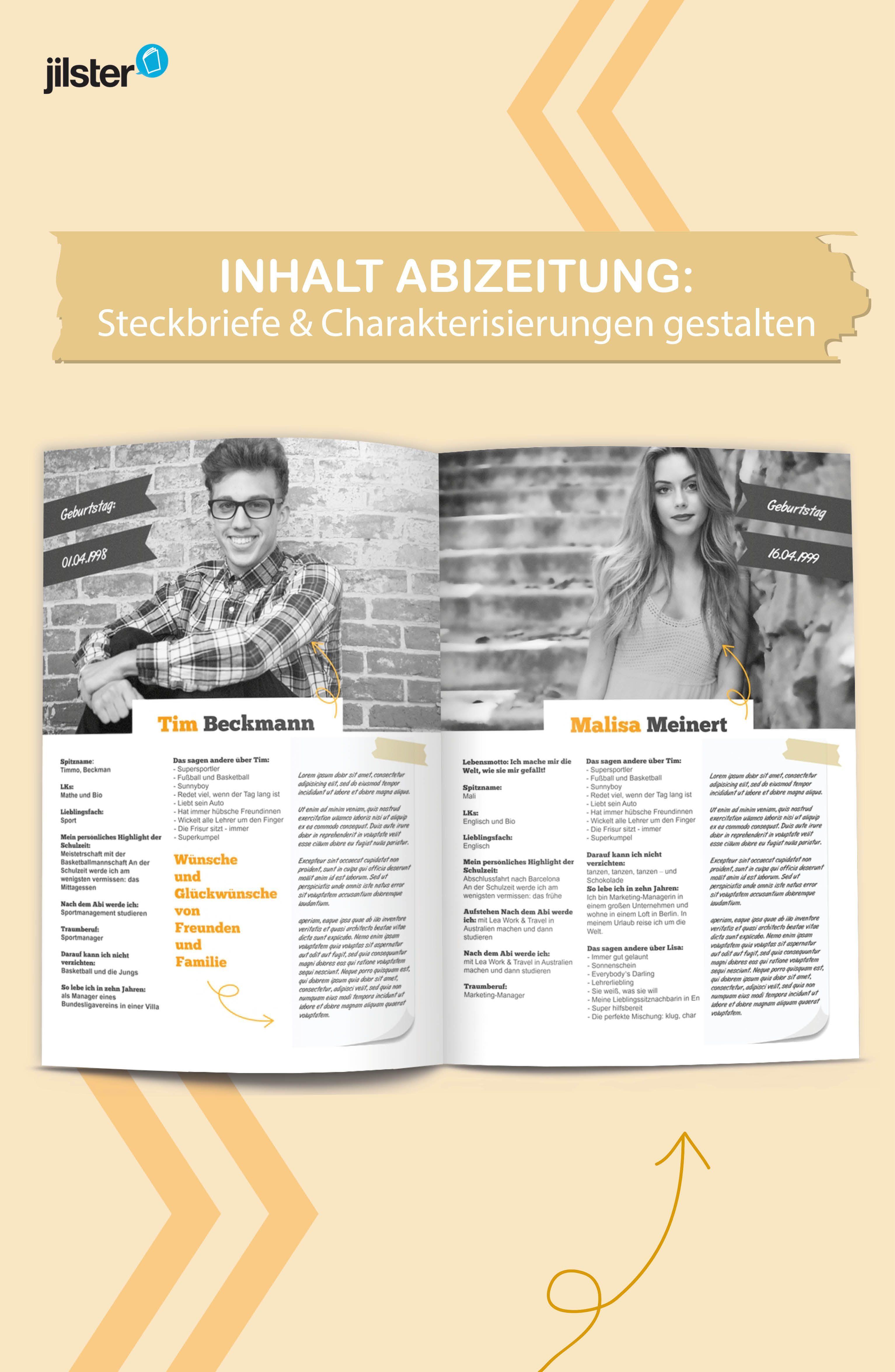 Abizeitung Steckbriefe Gestalten Jilster