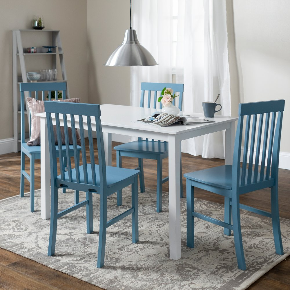 Modern White And Powder Blue 5 Piece Dining Set Rc Willey Furniture Store Dining Room Sets Painted Chairs Dining Room Dining Room Blue #rc #willey #living #room #sets