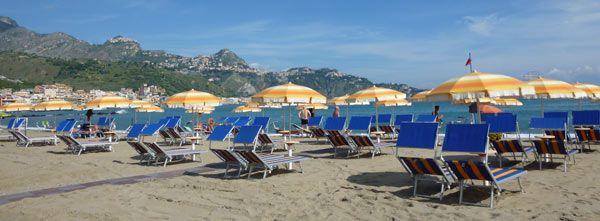 Beach at Giardini Naxos, with Taormina in the background