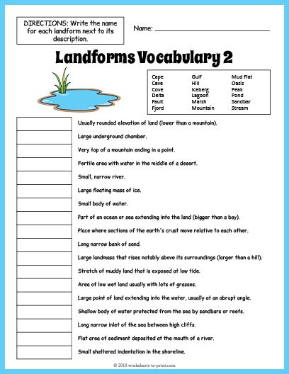 Use this Landforms worksheet to introduce or reinforce a ...