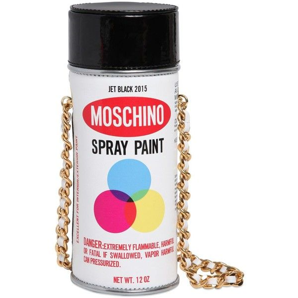 MOSCHINO Spray Paint Patent Leather Bag ($795) ❤ liked on Polyvore featuring bags, handbags, shoulder bags, moschino, purses, white shoulder bag, chain shoulder bag, patent leather purse, chain purse and chain handbags