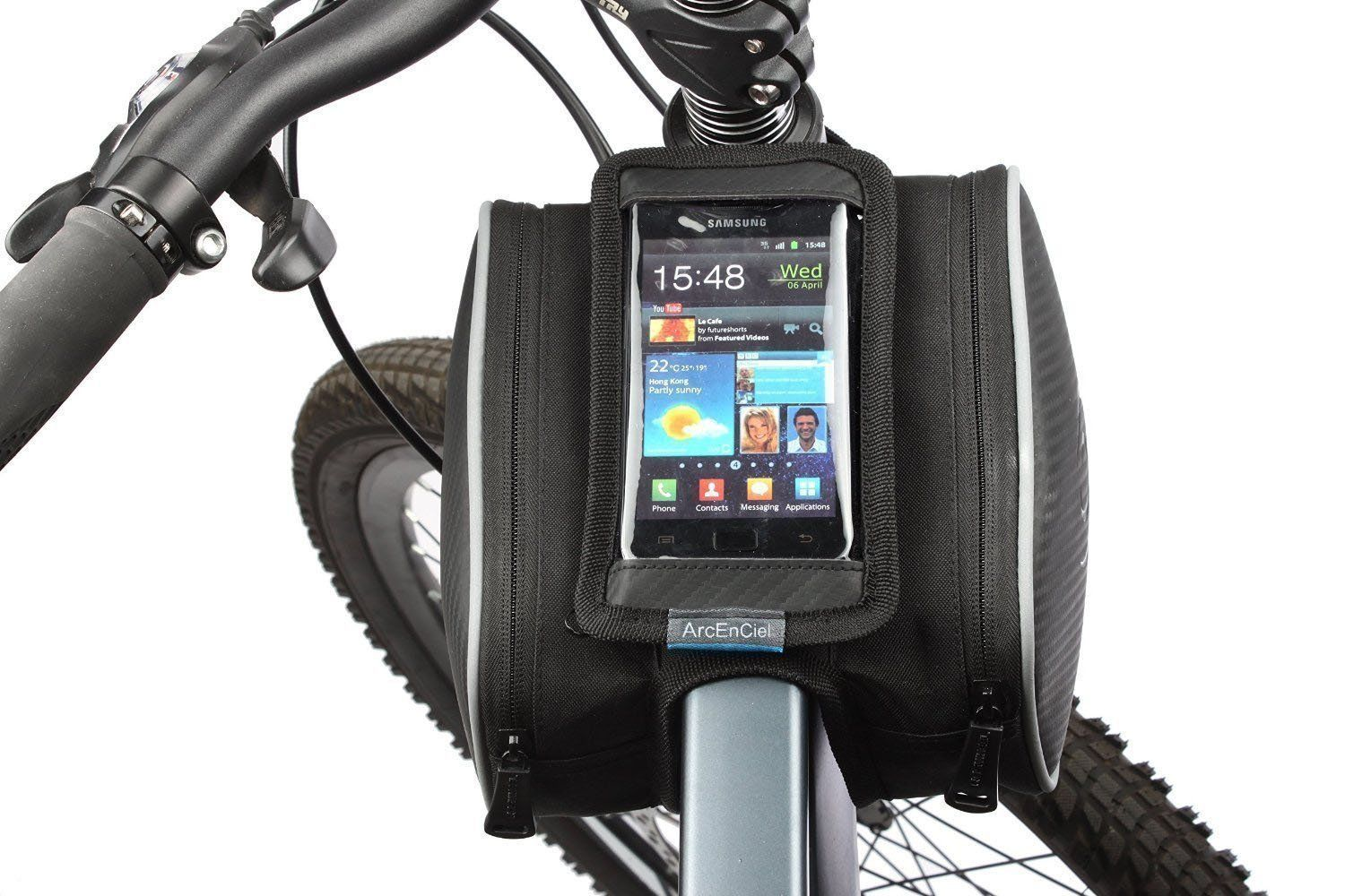 ArcEnCiel® Cycling Frame Bag, head tube bag, Top tube bike phone bag holder for Iphone 6 5s/5c/5 iphone 4/4s, Samsung Galaxy S5/S4/S3 and other cellphone up to 5.7 inches