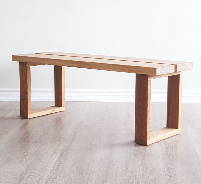 Custom Dining Benches Solid Wood Straight Edge Bench White Oak