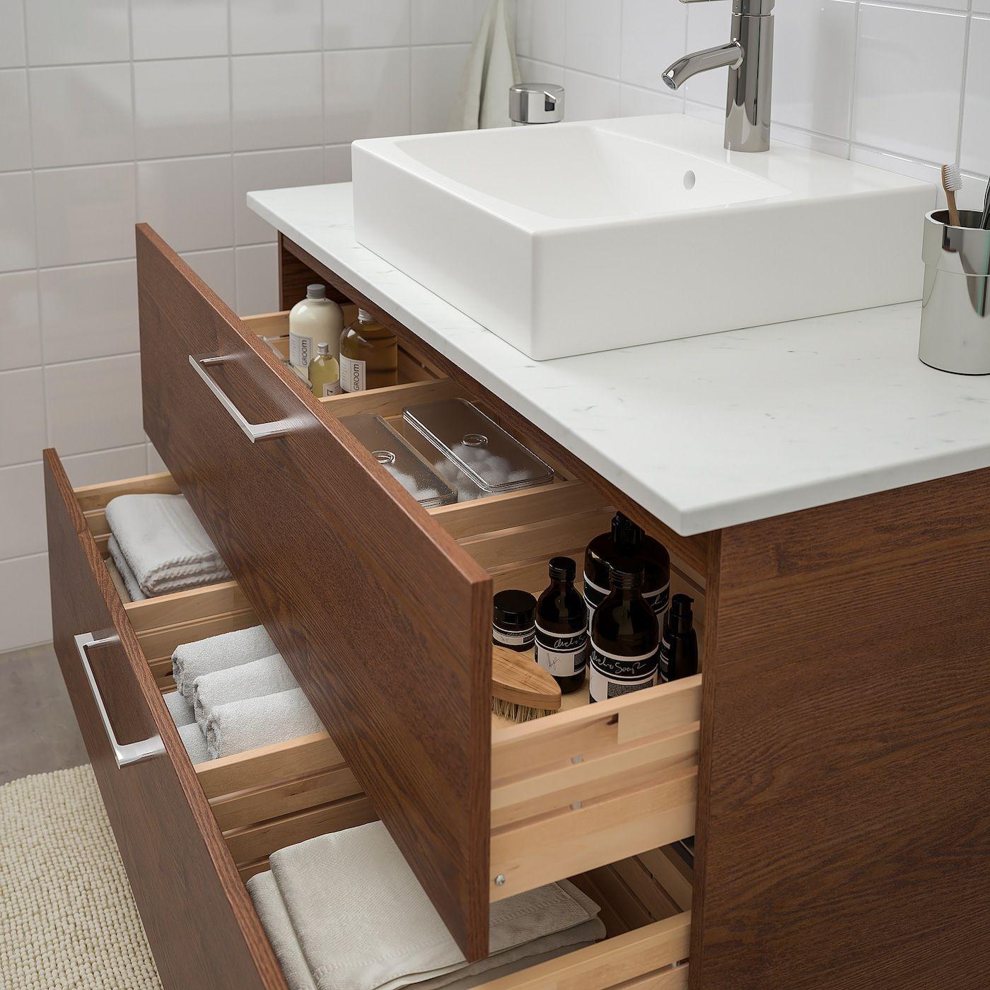 Godmorgon Tolken Tornviken Bathroom Vanity Brown Stained Ash Effect Marble Effect Dalskar Faucet 40 1 8x19 1 4x28 3 8 102x49x72 Cm Mobilier Salle De Bain Meuble Lavabo Et Idee Salle De Bain
