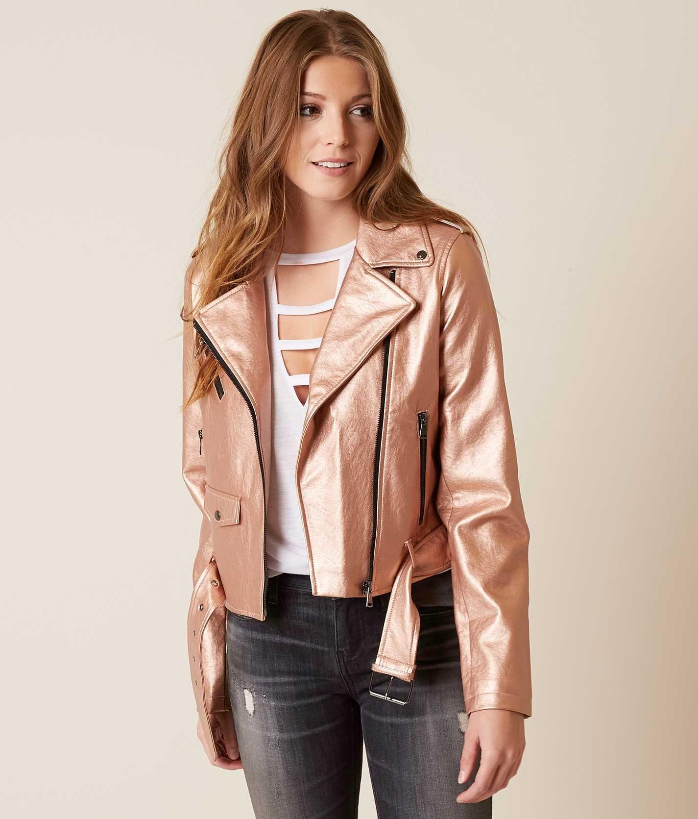Bnci Metallic Moto Jacket Women S Coats Jackets In Rose Gold Buckle Jackets For Women Womens Moto Jacket Jackets [ 1671 x 1425 Pixel ]