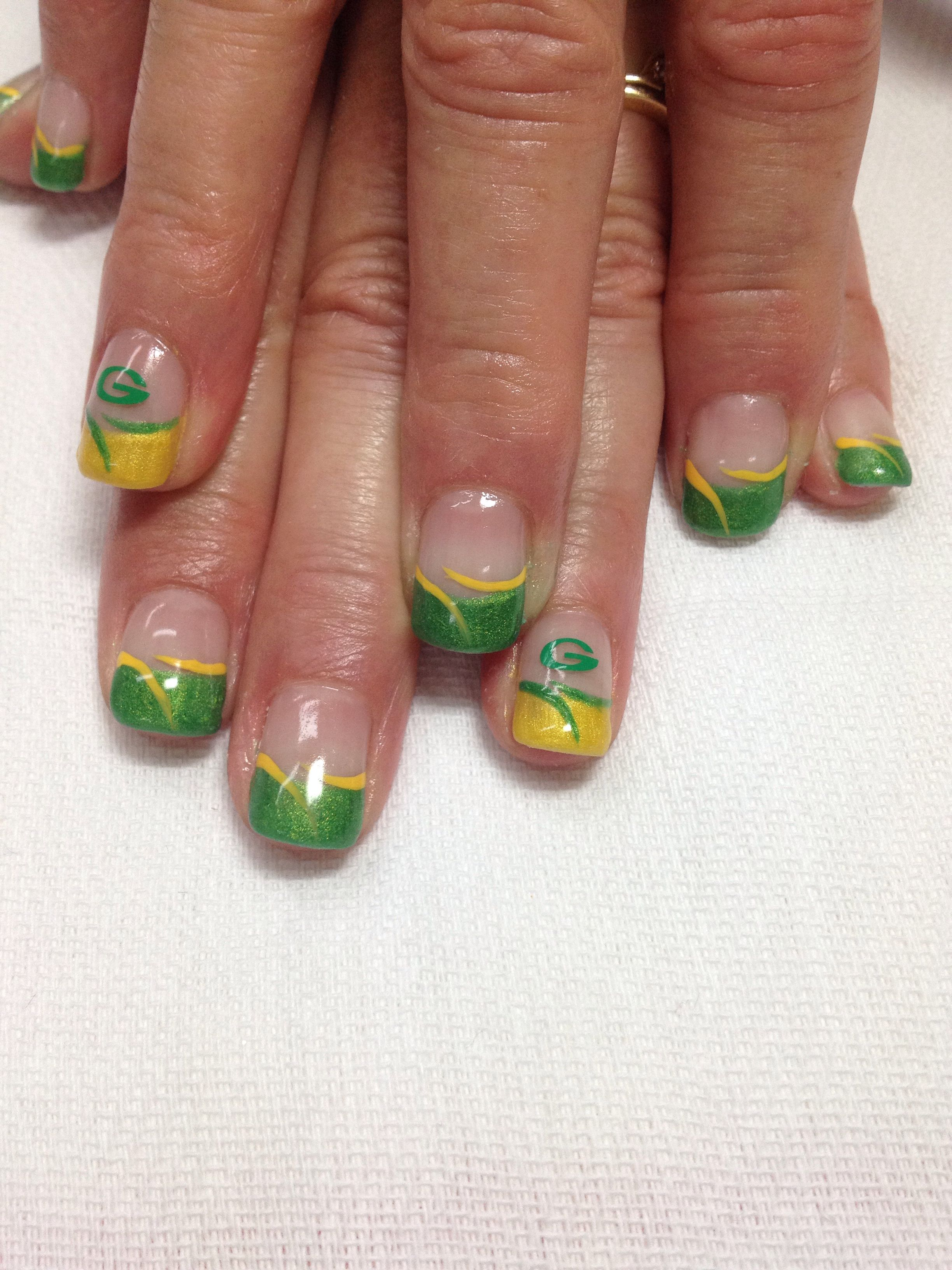 Packer football nails!! All gel is non-toxic & odorless. | Nails ...