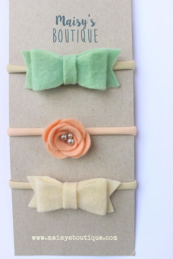 Mint Bow Peachy Pink Flower and Ivory Bow Headband Set/