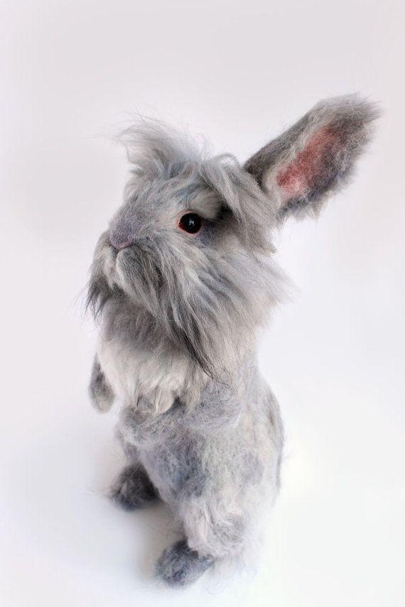 READY TO SHIP, Needle Felted, Grey Lionhead Bunny, Felted Rabbit ...