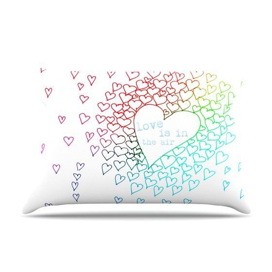 "Monika Strigel ""Rainbow Hearts"" Standard Pillow Case - Outlet Item"