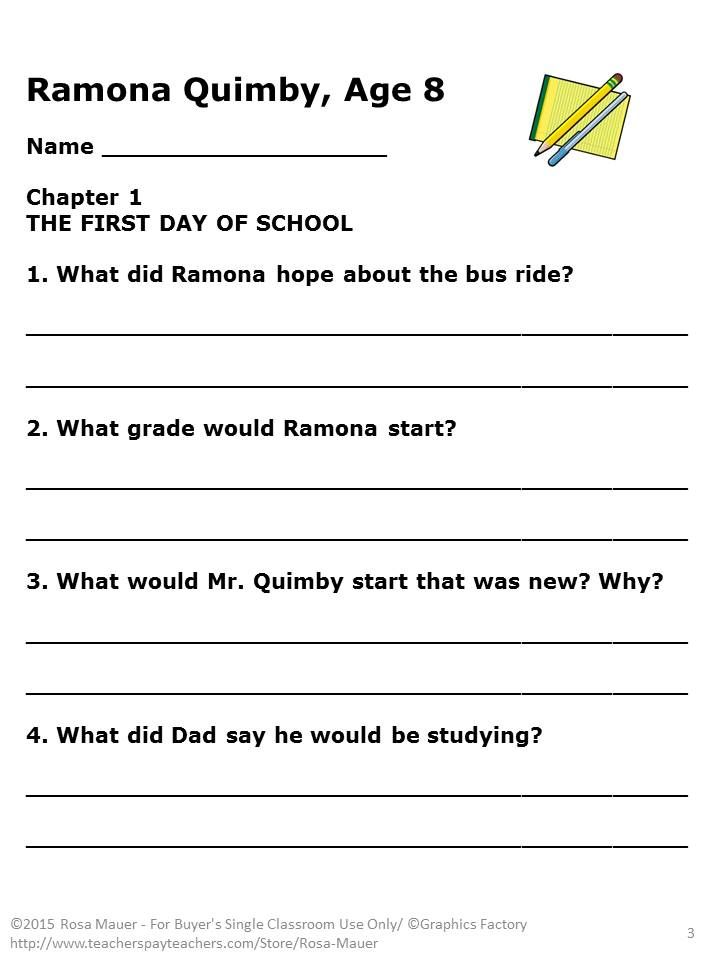 Printables Ramona Quimby Age 8 Worksheets ramona quimby age 8 reading comprehension by beverly cleary questions lines for student
