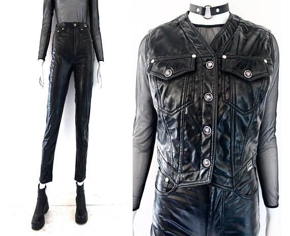 02e2a4e2 90s VERSACE patent leather pic vinyl 2 piece plastic vintage pant ...