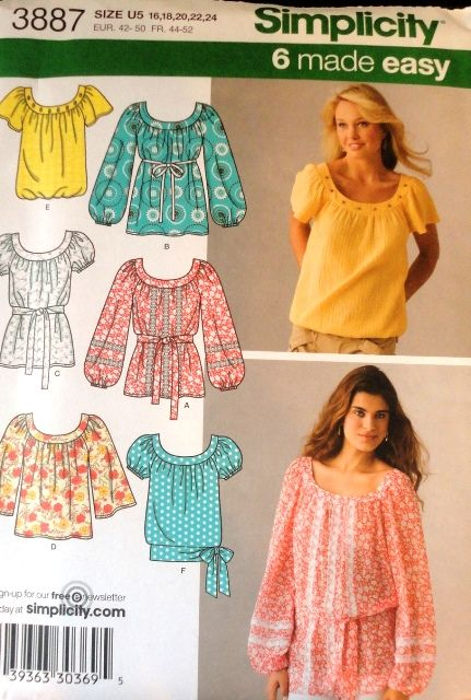 misses set of 6 peasant blouses sewing pattern simplicity 3887