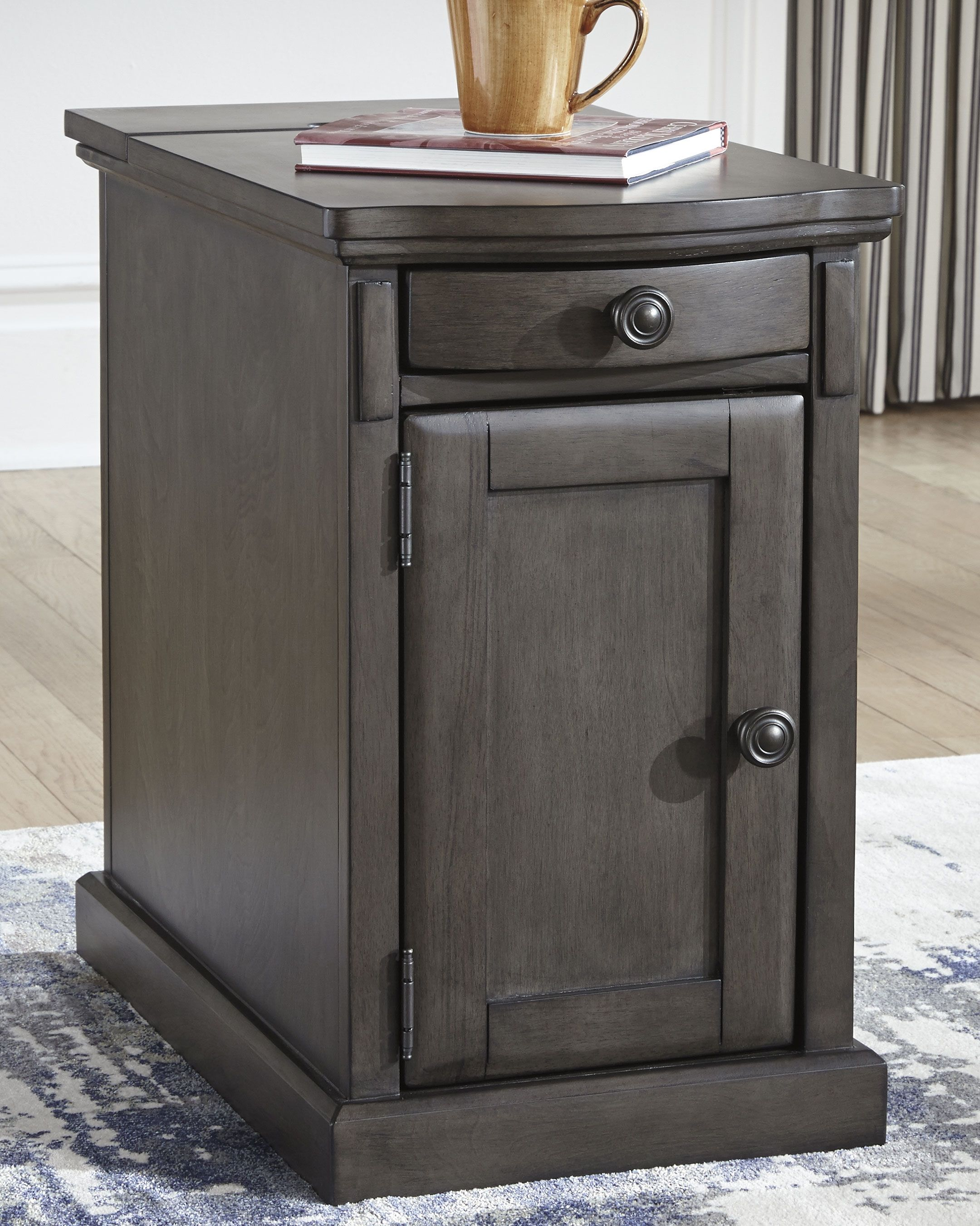 Laflorn Chairside End Table With Usb Ports Outlets Gray