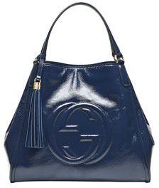 Gucci Soho Medium Leather Shoulder Bag Uniform Blue Navy On Style