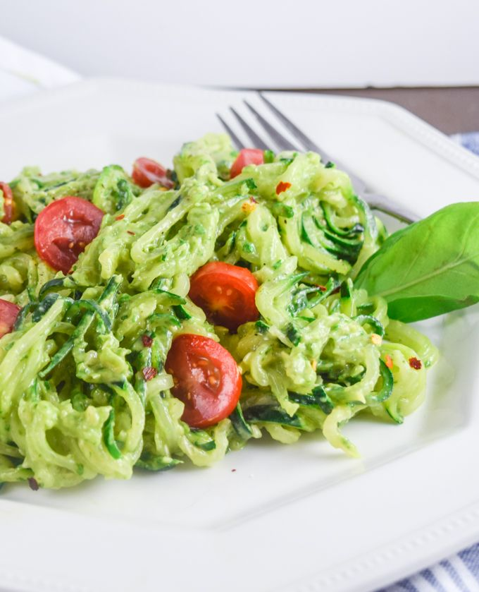 Avocado pesto zucchini noodles recipe avocado pesto pesto and avocado pesto zucchini noodles forumfinder Images