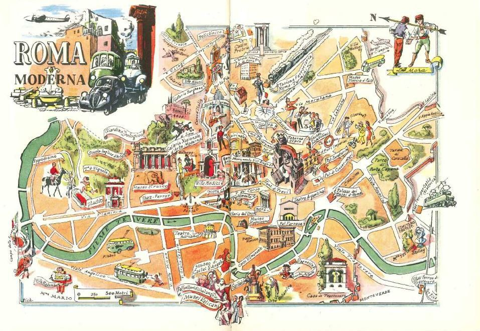 Modern Map Of Italy.Modern Rome Map Art Old Map Illustration Jacques Liozu Art