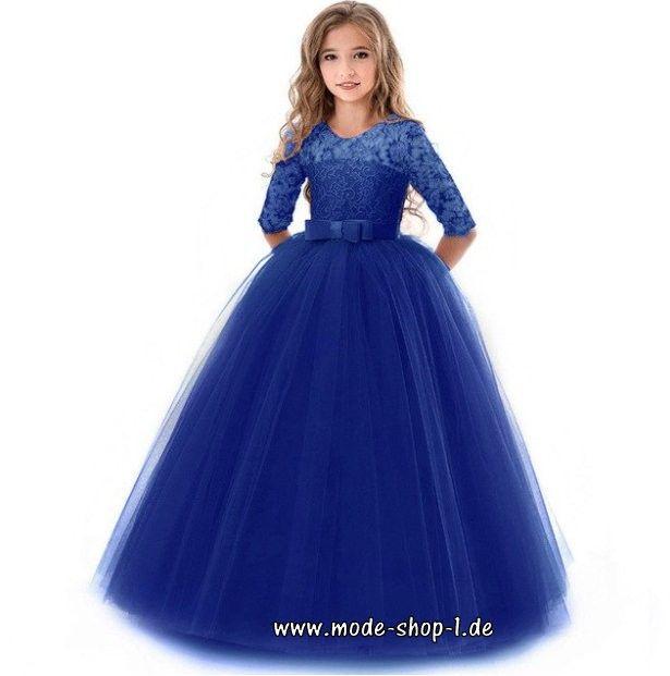 Elegantes High-End Mädchenkleid mit Spitze in Dunkel Blau ...