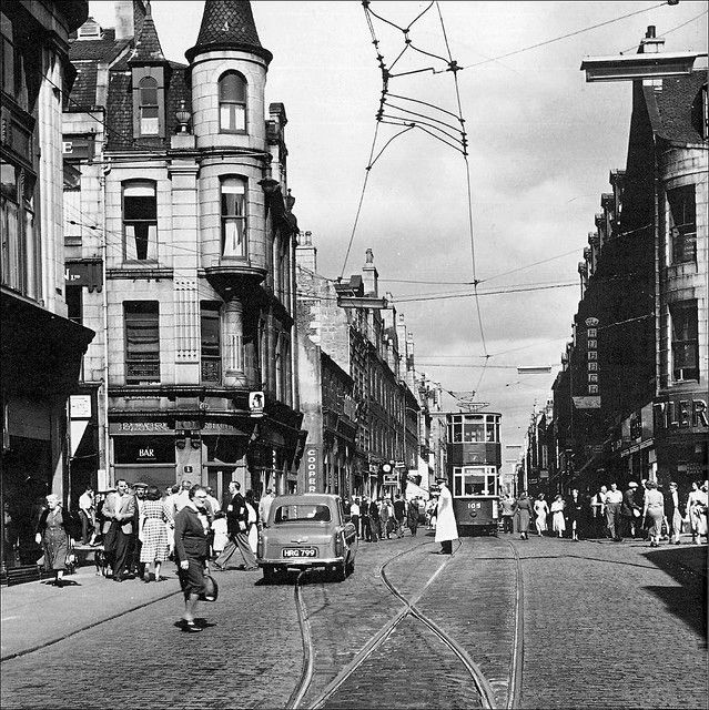 Tram lines on St Nicholas Street at the junction with Schoolhill, 1950's. |  City by the sea, Aberdeen scotland, Aberdeenshire