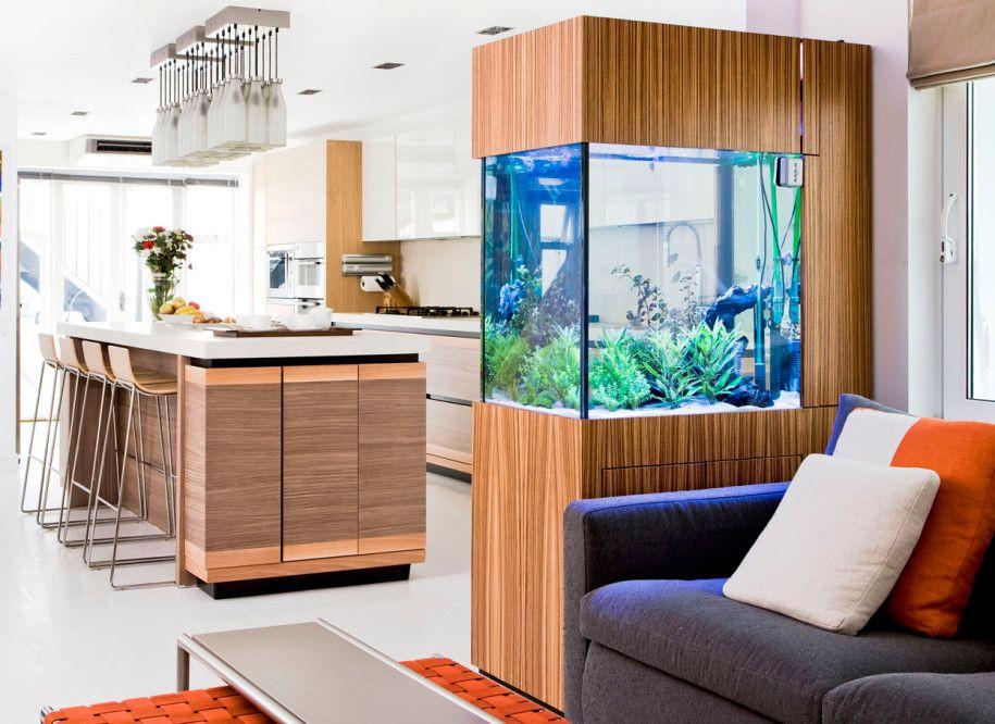 Modern Kitchen Aquarium Refreshing Elegant Kitchen Interior ...