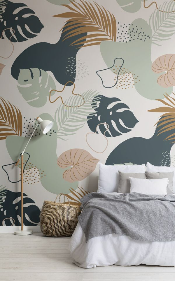 Modern Green & Neutral Tropical Leaf Collage Patte