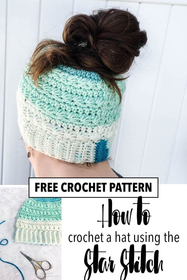 Crochet Snow Drops Messy Bun Hat - Free Crochet Pattern — Left in Knots