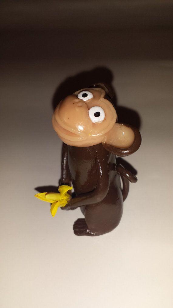 Symbol 2016 Polymer Clay Monkey With Banana Figurine Pinterest