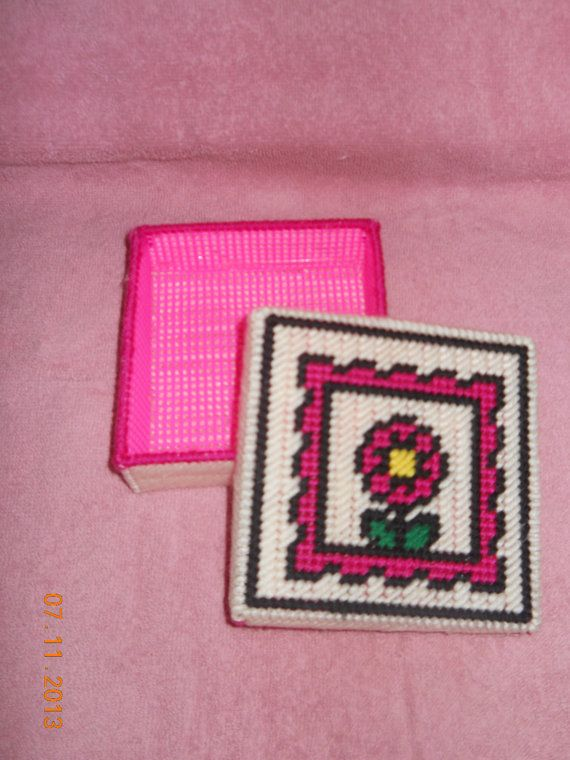 Pink Floral Stamp Trinket box in plastic canvas by SpyderCrafts, $5.00