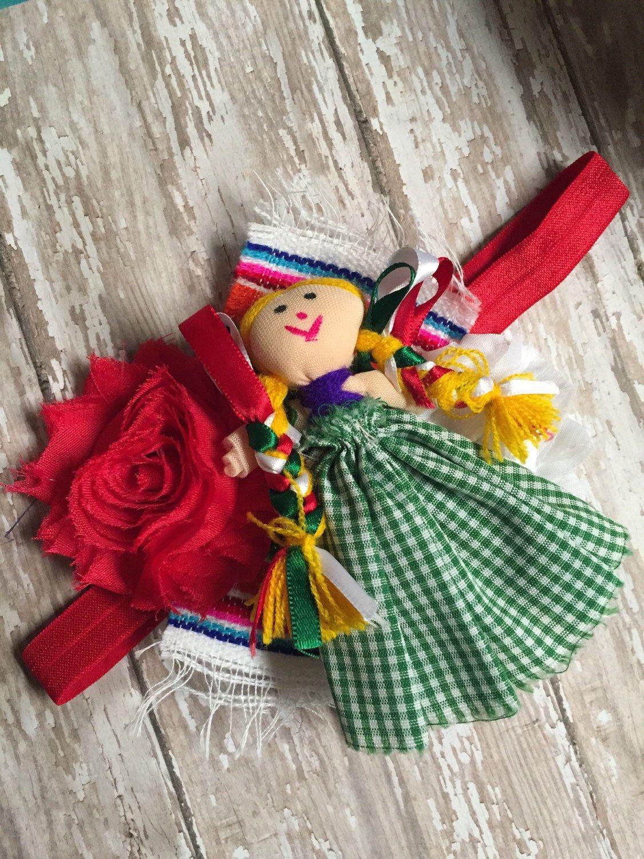 Handmade Doll Fiesta Party Cloth Doll Mexican Doll Fiesta Theme Headband