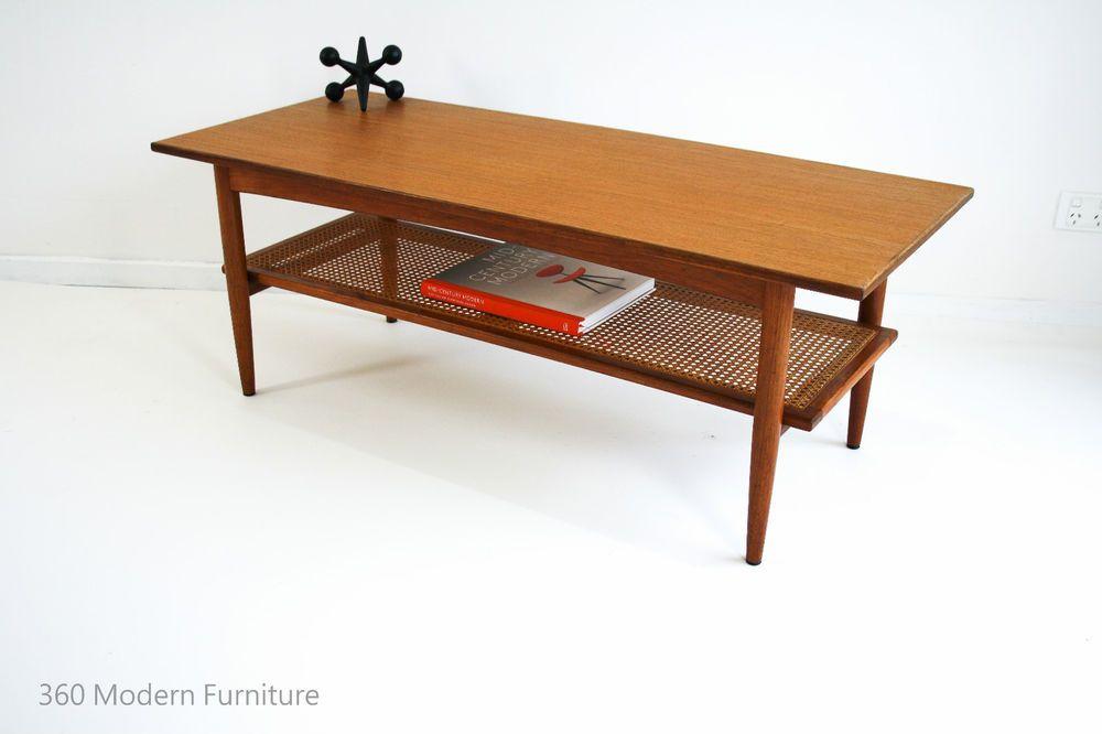 f5138885dc Mid Century Teak Coffee Table with Rattan Magazine Rack, Rectangle, Parker  Eames Scandi Era | 360 Modern Furniture