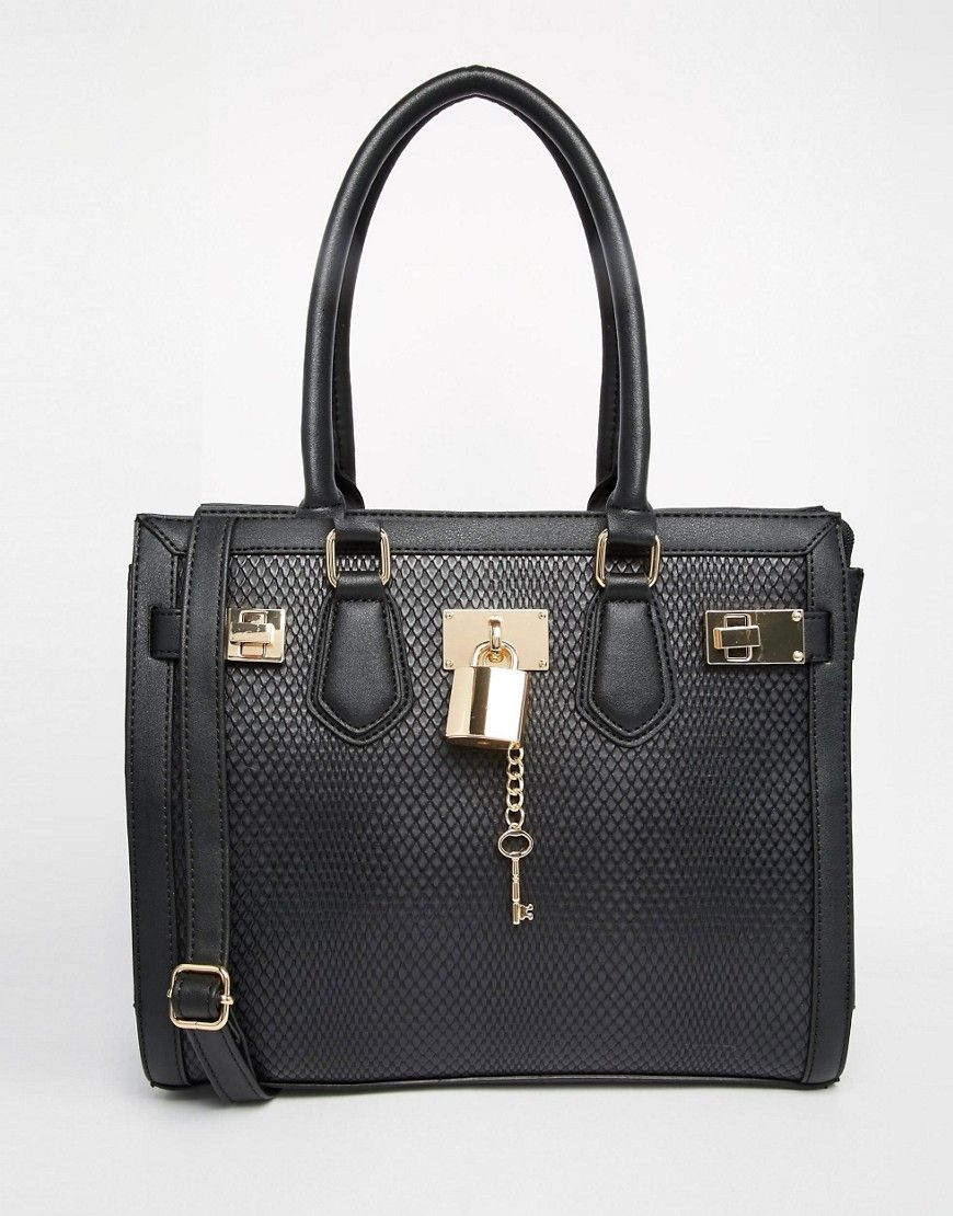 0854590325a ALDO Faux Snake Tote Bag With Lock Detail £40.19