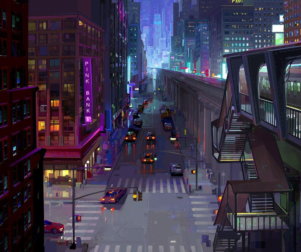 The Art And Making Of Spider Man Into The Spider Verse On Animation Futuristic Art Spider Verse Environment Concept Art