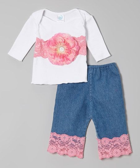 White & Coral Flower Lap-Neck Tee & Denim Pants - Infant http://www.zulily.com/invite/sruss4420