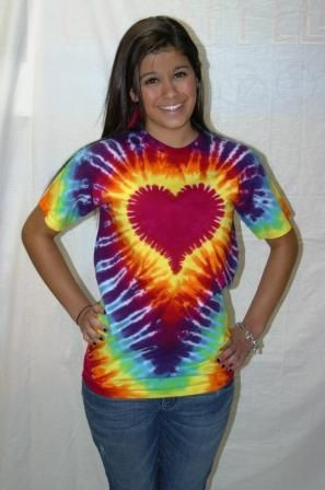 valentines by Sunshine Clothing in the uk Ladies Tie Dye T Shirt  rainbow heart