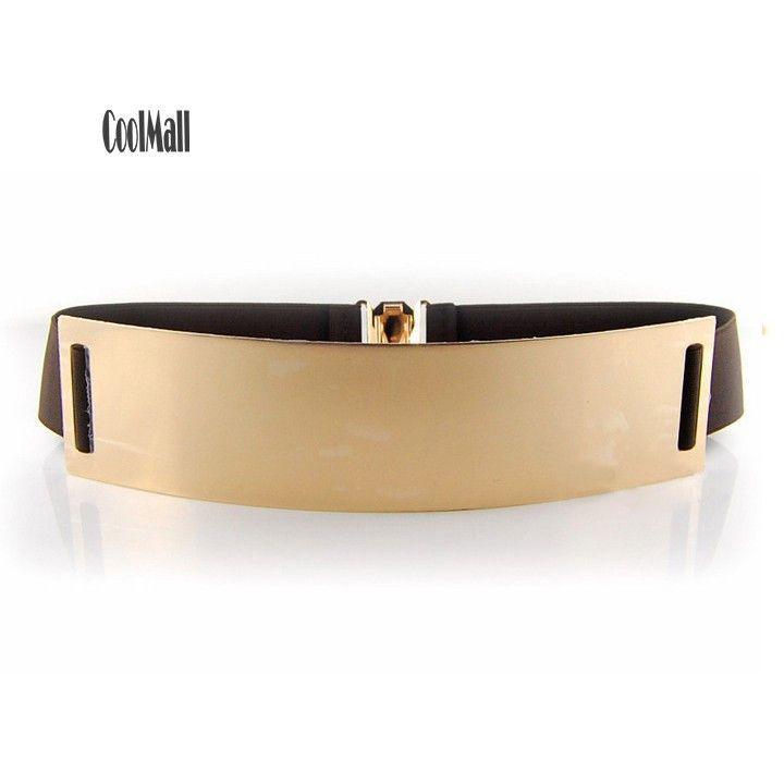 2015 New Fashion Women Lady Girl Gold Plate Metallic Bling Buckle Elastic Stretched Mirror Face Waist Belt Wide Belt Waistbelt