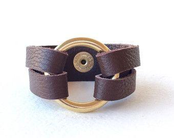 Brown Leather Wrap Bracelet Cuff Womens Circle