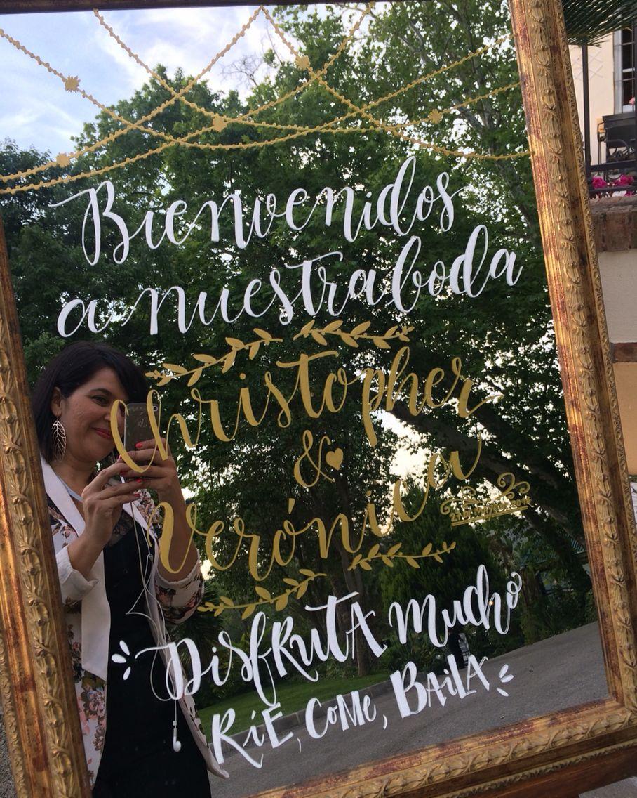 Espejo de Bienvenida @escritasamano para la boda de V&C