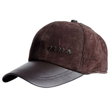 3b0f778aa539f Men Genuine Leather Baseball Cap Casual Outdoor Sun Hat Adjustable  Breathable Flat Top Cap